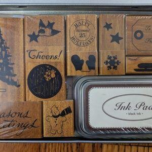 Cavallini & CO. Office - Cavallini & Co. Holiday Rubber Stamp Set NIB